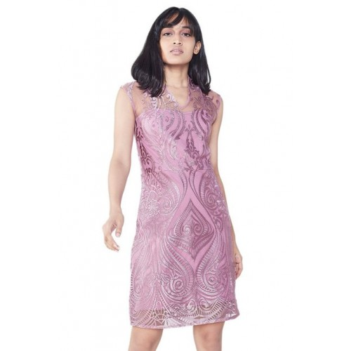 6f12ba8f451f Buy AND Light Pink Lace Knee Length Dress online