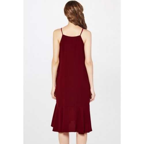 AND Maroon Solid Dress