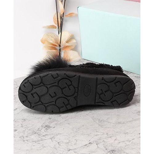 Kidlingss Black Slip-On Style Pom-Pom Shoes
