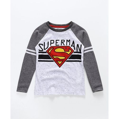 Eteenz Full Sleeves Tee Superman Print - Black Grey