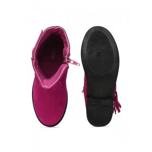 Kittens Girls Pink Fringed Flat Boots