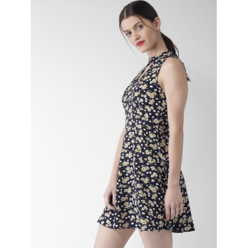 Mast & Harbour Mast & Harbour Women Navy Printed A-Line Dress