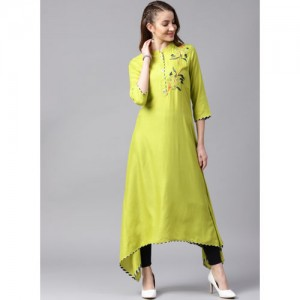 ANAISA Women Green Yoke Design Embroidered Kurta