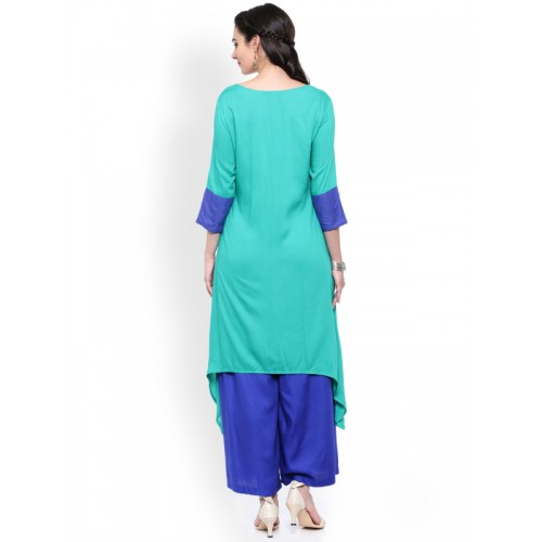 ANAISA Women Sea Green Solid C Cut Kurta