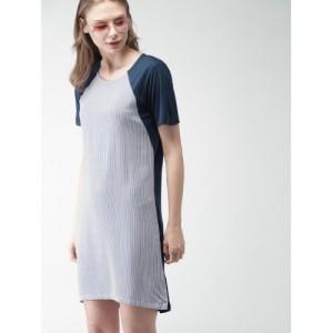 Mast & Harbour Women Blue & White Striped T-shirt Dress
