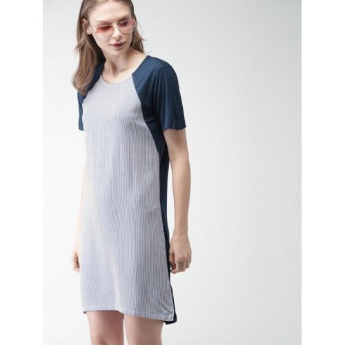 bad278522fa3 Buy Mast & Harbour Women Blue & White Striped T-shirt Dress online ...