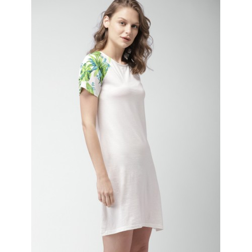 Mast & Harbour Off-White Cotton Solid T-shirt Dress