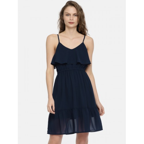 Mast & Harbour Women Navy Blue Solid Fit and Flare Dress
