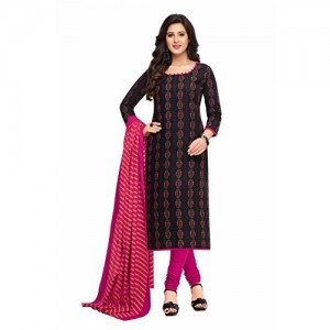 Miraan Black & Pink Cotton Printed Dress Material