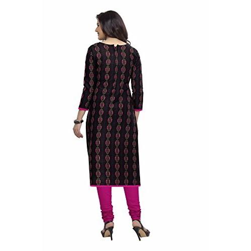 Miraan Black & Pink Cotton Printed Dress Material