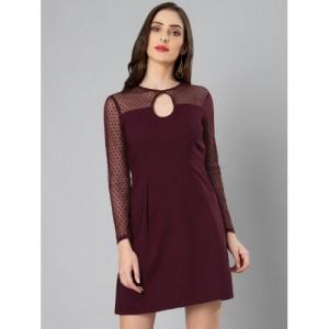 FabAlley Women's Maroon A-Line Mini Dress
