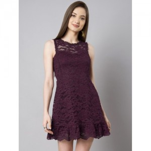 FabAlley Women Burgundy Self Design Fit and Flare Dress