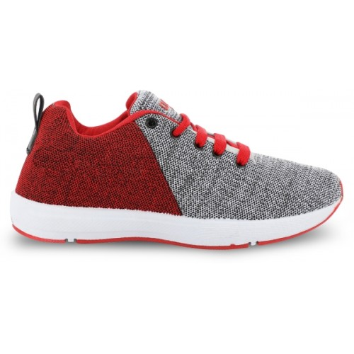Birdy Grey & Red Mesh Lace Up Running Shoes