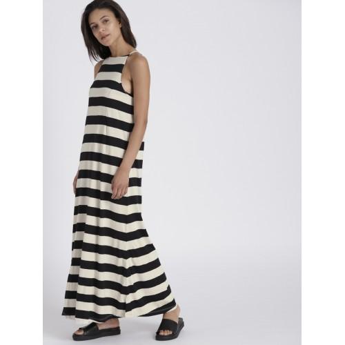 Chemistry Women Cream-Coloured & Black Striped Maxi Dress