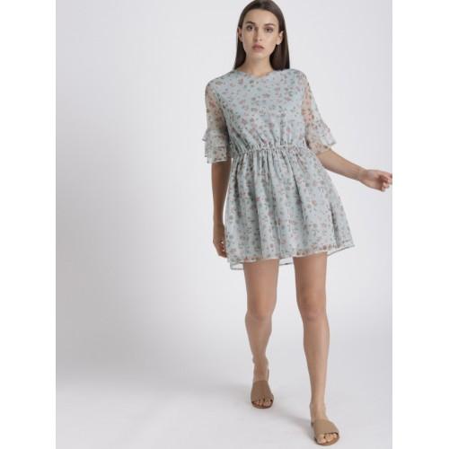 Chemistry Women Blue Printed Semi-Sheer A-Line Net Dress