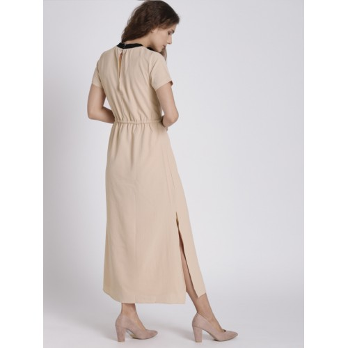 Chemistry Women Skin Color-Coloured Solid A-Line Midi Dress