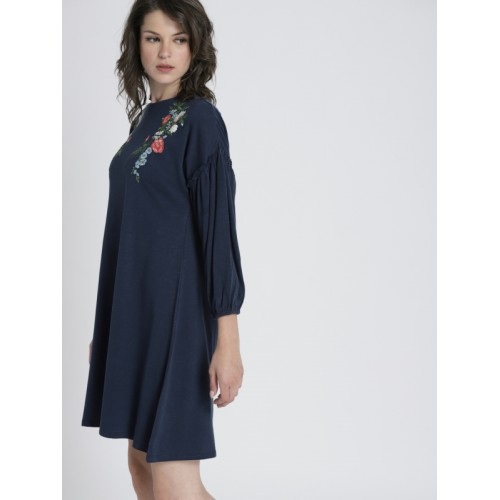 Chemistry Women Navy Blue Solid A-Line Dress