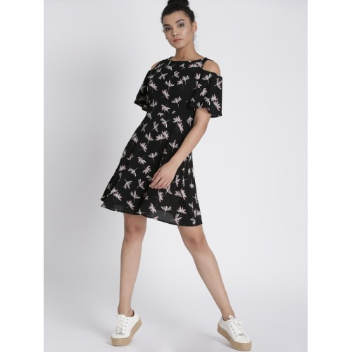 Chemistry Women Black Printed Fit & Flare Dress