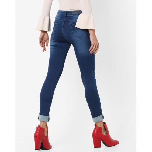 KRAUS Skinny Fit Mid-Rise Jeans with Whiskers