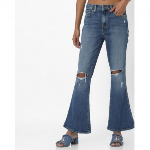 Levis Blue Flared Mid-Rise Mildly Distressed Stretchable Jeans