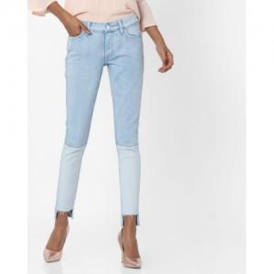 LEVIS Blue Cotton Denim Skinny Fit Panelled Jeans with Step Hem