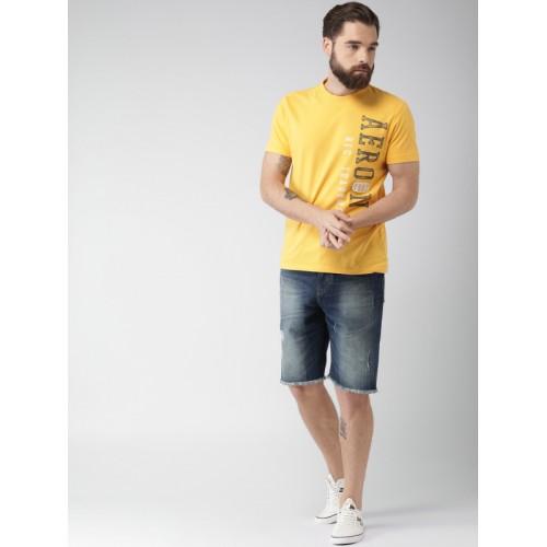 Aeropostale Yellow Printed Regular Fit Round Neck T-Shirt