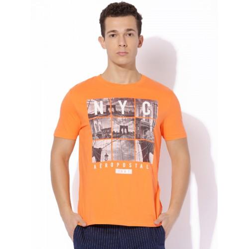 Aeropostale Orange Printed Regular Fit Round Neck T-Shirt