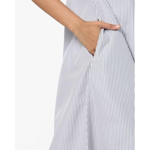 Bitterlime Women's Striped Frontslit Kurta