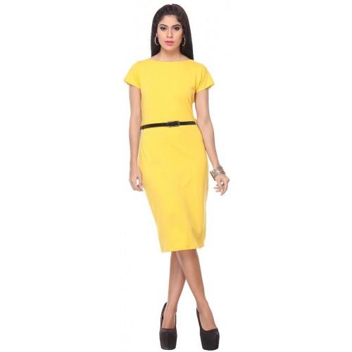 buy lavennder western wear yellow stylish dress with belt online