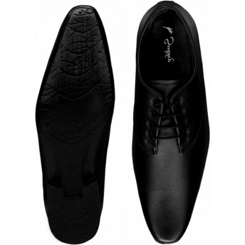 Smoky 571 Classic Black Synthetic Leather Lace Up Formal Shoes