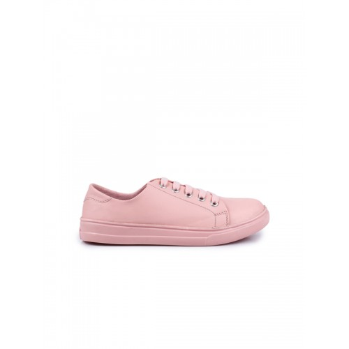 Shoetopia Women Pink Synthetic Lace Up Sneakers
