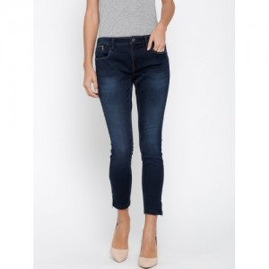 ONLY Women Navy Blue Regular Fit High-Rise Clean Look Stretchable Cropped Jeans