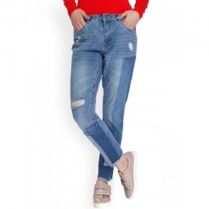 ONLY Women Blue Regular Fit Mid-Rise Mildly Distressed Jeans