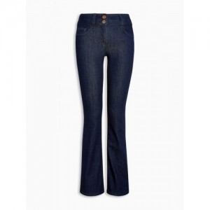 next Women Navy Blue Bootcut High-Rise Clean Look Stretchable Jeans