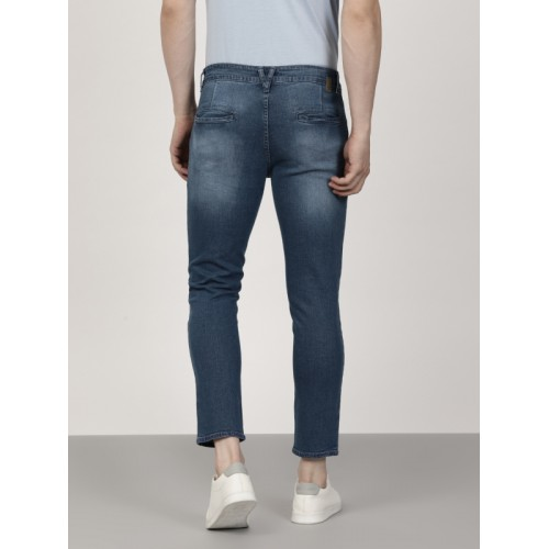 ether Men Blue Carrot Fit Mid-Rise Clean Look Stretchable Jeans