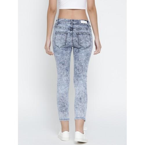Deal Jeans Women Blue Regular Fit Mid-Rise Low Distress Embellished Jeans