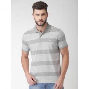 Aeropostale Men Grey Striped Polo Collar T-shirt