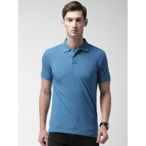 Aeropostale Blue Solid Regular Fit Polo T-Shirt