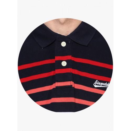 Aeropostale Navy Blue Striped Regular Fit Polo T-Shirt