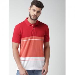 Aeropostale Men Red & White Colourblocked Polo Collar T-shirt