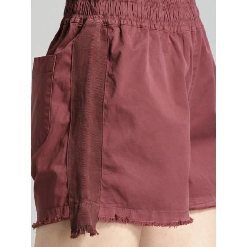 Roadster Time Travlr Women Burgundy Solid Regular Fit Regular Shorts