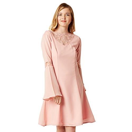 Buy Miss Chase Women s Light Pink Lace Mini Skater Dress online ... 85b8df111