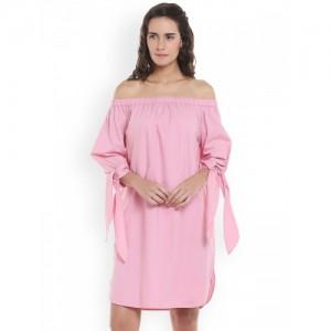 Vero Moda Women Pink Solid A-Line Dress