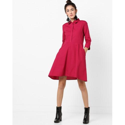 Buy Femella Skater Dress with Shirt Collar   Insert Pockets online ... f16578c7b