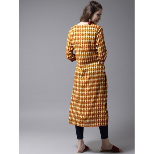 HERE&NOW Mustard Yellow Printed Kurtas