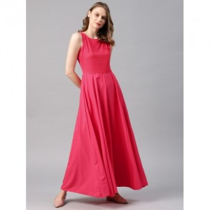 Tokyo Talkies Women Coral Pink Self-Design Maxi Dress