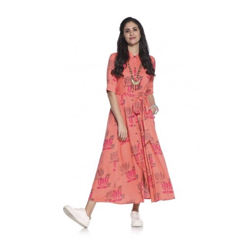 2534bd46b1 Buy Bombay Paisley by Westside Pink A-Line Dress with Belt online ...