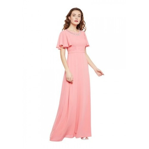 ea6eaebe2d Buy MARTINI Women Pink Embellished Flared Sleeves Party Gown online ...