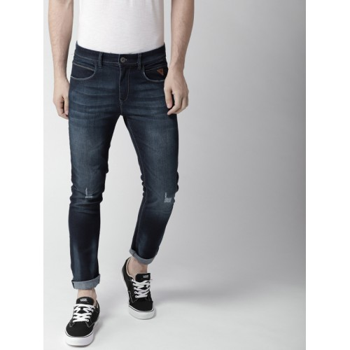 Harvard Men Navy Blue Skinny Fit Mid-Rise Low Distress Stretchable Jeans