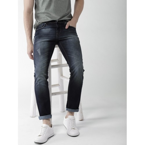 Mast & Harbour Men Navy Blue Slim Tapered Fit Mid-Rise Clean Look Stretchable Jeans